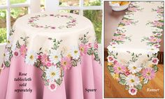 Embroidered Floral Gerbera Daisy Table Linens