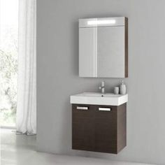 "View the ACF by Nameeks C62 Cubical 2 23"" Wall Mounted Vanity Set with Wood Cabinet, Ceramic Top with 1 Sink and 1 Mirror at Build.com."