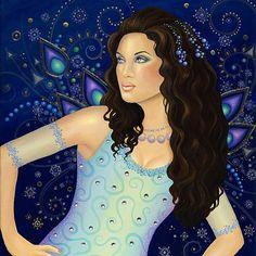 B. K. Lusk Giclee Print Art Nouveau Karma Peacock Fairy India Goddess Sari Gypsy Silver