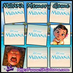 Moana Printable Memory Game by SKGaleana   Free Moana Printable Crafts, Activities and Party Supplies