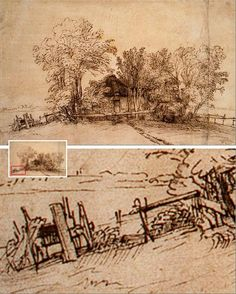 Rembrandt Drawings and Prints at the Met & Morgan Rembrandt Etchings, Rembrandt Drawings, Landscape Drawings, Landscape Paintings, Abstract Landscape, Leiden, Drawing Sketches, Art Drawings, Sketching