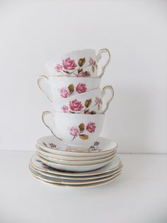 RESERVED FOR S - Vintage tea set - 4 cups, saucers and side plates - Royal Stafford and Duchess. £19.50, via Etsy.