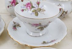 """Vintage Moss Rose Footed Teacup and Saucer 2 3/4"""", Vintage Made in Japan China Cup and Saucer, Teacup and Saucer Only by ShellyisVintage on Etsy"""