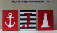 Nautical Nursery Decor Painting Lighthouse Anchor Personalized Nursery Letters Baby Name Navy Red White Nautical Wall Art Nautical Painting
