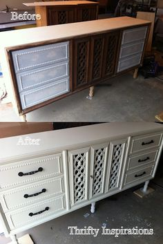 DIY sideboard from a thrift store dresser. I personally would have changed the pulls to something more shabby chic.... but that is just me :-)