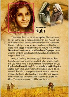 "Women of the Holy Bible, ""Ruth"" Bible Teachings, Bible Scriptures, Bible Quotes, Biblical Quotes, Bible Study Tools, Scripture Study, Ruth Bible, Book Of Ruth, Jehovah's Witnesses"