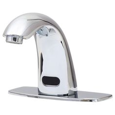 The Dyconn Faucet Trinidad polished chrome bathroom faucet, with a motion sensor, helps accomplishing any task with hands-free operation. Simple hand movement affords instant water flow and immediatel