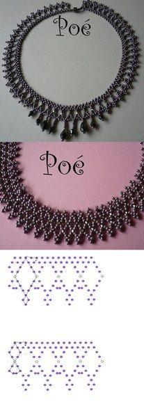 Ожерелье из бисера и бусин. Схемы плетения.