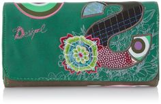 Desigual S Patch Woven Wallet,Jungle Green,One Size Card Case, Patches, Green, Wallets, Cards, Coin Purses, Purses, Maps, Playing Cards