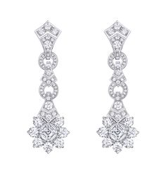 Diamond earrings by Louis Vuitton from the new Conquétes Regalia collection Bijoux Louis Vuitton, Diamond Jewelry, Diamond Earrings, Louise Vuitton, Jewellery Sketches, Couture Week, High Jewelry, Women's Earrings, Jewelry Collection
