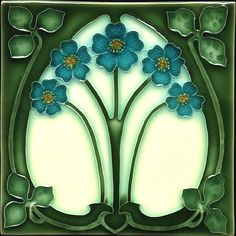 """Forget-Me-Nots"" Art Nouveau tile.  This is the first tile I've pinned.  Patience is a virtue; this one was worth waiting for."