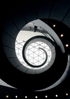 """View from the bottom of the """"double helix"""" staircase in the Dali Museum, St. Petersburg, FL"""