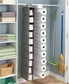 Store bulk items such as paper towels, toilet paper, or shoes in this Oversized Quilted Hanging Storage unit. It Store bulk items such as paper towels, toilet paper, or shoes in this Oversized Quilted Hanging Storage unit.