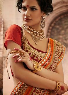 Z Fashion Trend: MAROON AND ORANGE PARTY WEAR SAREE