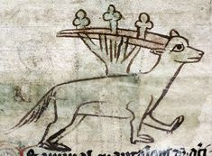 An antelope has gotten its horns tangled in a bush. The horns are smooth, rather than having the saw-like shape they should have.  Bodleian Library, MS. e Mus. 136, Folio 19r