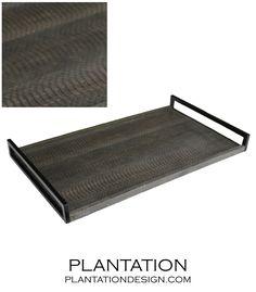 PLANTATION | Cebu Snake Leather Tray | Dark Grey