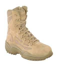 Reebok Womens Desert Tan Suede Tactical Boots Rapid Response RB Side Zip