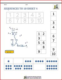 sequences worksheets to 10 4