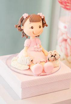 pink birthday girl fondant cake