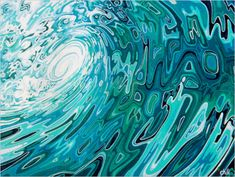 Wavesey - Waves acrylic painting on canvas Spirals In Nature, Wave Illustration, Wave Art, Canadian Art, Tropical Art, Surf Art, Texture Art, Beach Art, Fabric Painting