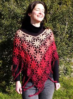 Red Poncho Flower Crochet Lace Beaded Fringes gipsy folk boho by Sparklingknitwear