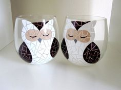 Owl Wine Glasses Hand Painted Mosaic Glassware by MeKu on Etsy, $56.00