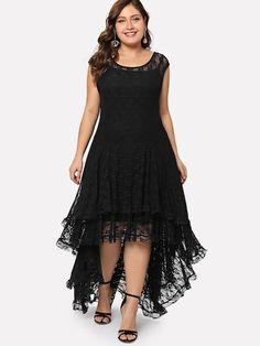 Shop Plus Dip Hem Layered Floral Lace Dress online. SheIn offers Plus Dip Hem Layered Floral Lace Dress & more to fit your fashionable needs. Floral Lace Dress, Chiffon Dress, Lace Maxi, Plus Size Dresses, Plus Size Outfits, Dress P, Party Dress, Dress Clothes, Evening Dresses