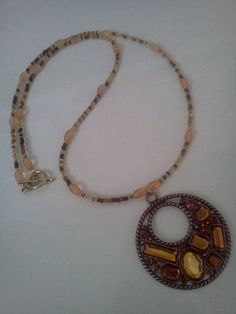 Brown and Orange Glass Beaded Necklace with Pendant  with by laurenengler2012, $20.00 available for purchase @ http://www.etsy.com/shop/laurenengler2012