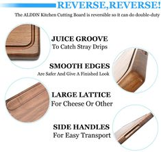At Alddn.com we believe beautiful wood cutting boards are indispensable sources to happiness and creativity. It is our mission to bring that to YOU and YOUR FAMILY. @Alddnus relentlessly strive for touchable and lasting greatness in our all-natural premium wood cutting boards - each of Alddn cutting boards is blessed with modern design, expert craftsmanship and top-grade materials. Wood Chopping Board, Wood Cutting Boards, Wood Boards, Best Cutting Board, Large Cutting Board, Wooden Food, Wooden Platters, Modern Serving Trays, Carving Board