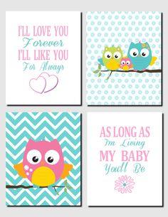 Pink Teal Nursery Art Owl Theme Nursery Decor Kids Wall Art Girls Room I'll Love You Forever Baby Girl Room Aqua Pink Set of 4, Prints by vtdesigns on Etsy