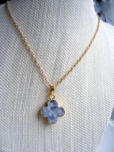 Receive gold necklace and Blue Leather Cord Necklace with this Gorgeous Druzy! Cornflower Blue Druzy Necklace, Gold, Blue Agate geode druzy, Flower shaped druzy, Gold Necklace and Blue Leather Cord Necklace by OceanHue on Etsy