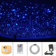 Black Room: 60 Photos and Color Decorating Tips - Home Fashion Trend Starry Ceiling, Star Lights On Ceiling, Sky Ceiling, Ceiling Murals, Ceiling Light Design, Ceiling Fans, Fiber Optic Ceiling, Fiber Optic Lighting, Home Theater Rooms