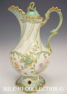 LIMOGES FRANCE HAND PAINTED FLOWERS CHOCOLATE POT LOVELY MOLDING in Pottery & Glass, Pottery & China, China & Dinnerware, Limoges | eBay