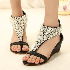 7535e3d456e89 Buy Women Wedge Shoes Rhinestone Zipper Pear Beaded Wedge Sandals