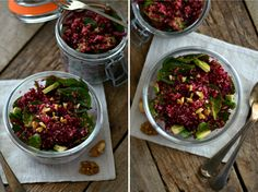 Salada de quinoa, beterraba, espinafres e nozes