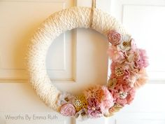 Wrapped Lace Yarn Wreath Shabby Chic Wreath by WreathsByEmmaRuth, $40.00