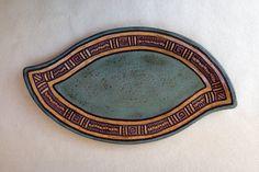 Leaf Shaped Serving Platter  Hand Carved  Slab by KittingerClay