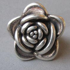 Big Bold 3-Dimensional Sterling Silver ROSE Flower Ring, Size 6.75 - Big Bold 3-Dimensional Sterling Silver ROSE Flower Ring, Size 6.75