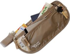 Passport Holder Money Belt - Width RIFD Blocking Material. Use as visible travel pouch or undercover passport wallet for women or man (FREE DOCUMENT CASE)