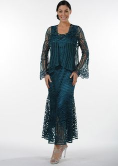 Soulmates D7155 Crochet Beaded Silk Lace Fit-n-Flare Ankle Length 2 pc Jacket Dress (Missy, Plus Sizes)