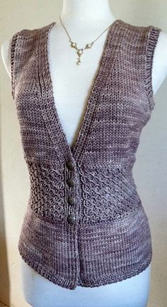 Memory Vest pattern by Vera Sanon Memory is knit from the top-down; it has a gradual v-shaped front that meets just above the waist, thus is very figure flattering. The waist is adorned with a slip-stitch pattern and is bordered by an Estonian Braid. Crochet Braid Pattern, Gilet Crochet, Crochet Vest Pattern, Braid Patterns, Chunky Knitting Patterns, Knit Or Crochet, Knitting Stitches, Knit Patterns, Baby Knitting
