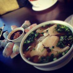 Phô Chicken Noodle Soup and Fresh Shrimp Spring Rolls