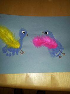 super cute footprint birds craft!