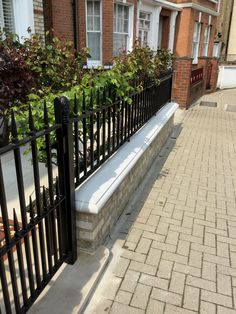 This front garden project is finished off with sandstone bricks that sympathetically pair with the public footpath. With the addition of the deep black cast iron style railings, we created a beautiful finish that the owners were thrilled with! Front Gardens, Edwardian House, Fence Ideas, Railings, Garden Projects, Bricks, Gates, Cast Iron, Garden Design