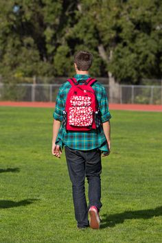 The Tinsley Backpack in Red w/ Red Skulls and Black Checkered Pockets