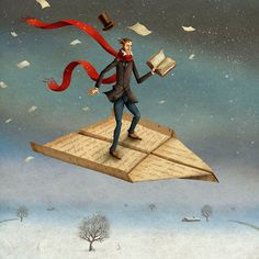 Flying away on a book...