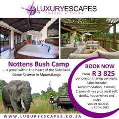 Nottens Bush Camp a jewel within the heart of the Sabi Sand Game Reserve in Mpumalanga. BOOK NOW from R 3825 per person sharing per night.  Rates include: Accommodation, 3 meals, 2 game drives plus Local soft drinks, house wines and beers. www.luxuryescapes.co.za