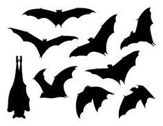Halloween Silhouettes, Halloween Bats, Halloween Night, Halloween Makeup, Animal Silhouette, Silhouette Design, Bat Template, Templates, Hanging Bat