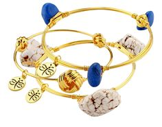Crystal Wire Bangle Set of 3 White Turquoise and Blue Stones Knot