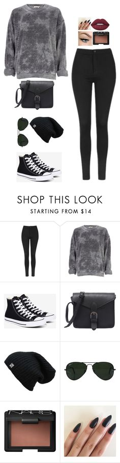 """""""Untitled #102"""" by existential-crisis823 ❤ liked on Polyvore featuring Topshop, River Island, Converse, Ray-Ban, NARS Cosmetics and Lime Crime"""